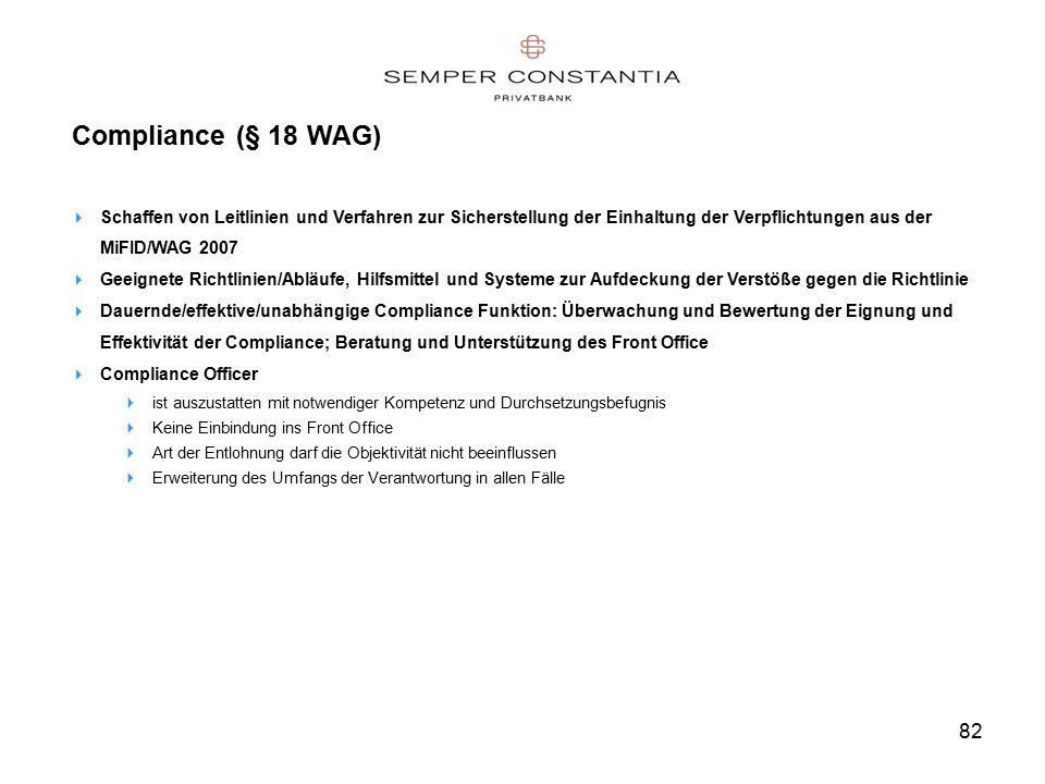 82 Compliance (§ 18 WAG)  Schaffen von Leitlinien und Verfahren zur Sicherstellung der Einhaltung der Verpflichtungen aus der MiFID/WAG 2007  Geeignete Richtlinien/Abläufe, Hilfsmittel und Systeme zur Aufdeckung der Verstöße gegen die Richtlinie  Dauernde/effektive/unabhängige Compliance Funktion: Überwachung und Bewertung der Eignung und Effektivität der Compliance; Beratung und Unterstützung des Front Office  Compliance Officer  ist auszustatten mit notwendiger Kompetenz und Durchsetzungsbefugnis  Keine Einbindung ins Front Office  Art der Entlohnung darf die Objektivität nicht beeinflussen  Erweiterung des Umfangs der Verantwortung in allen Fälle