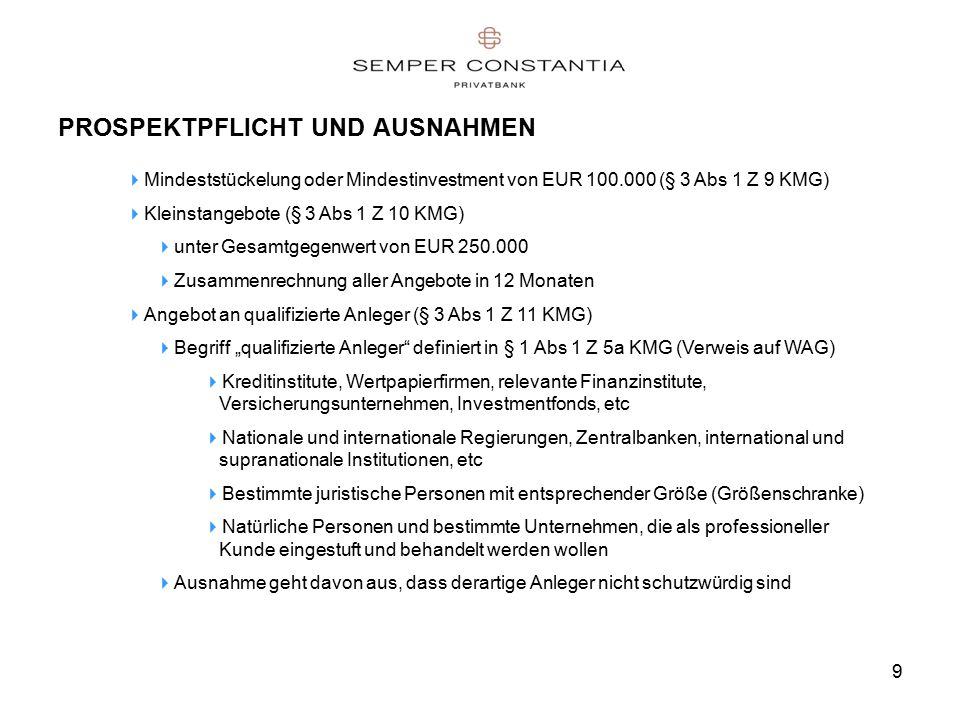"""9 PROSPEKTPFLICHT UND AUSNAHMEN  Mindeststückelung oder Mindestinvestment von EUR 100.000 (§ 3 Abs 1 Z 9 KMG)  Kleinstangebote (§ 3 Abs 1 Z 10 KMG)  unter Gesamtgegenwert von EUR 250.000  Zusammenrechnung aller Angebote in 12 Monaten  Angebot an qualifizierte Anleger (§ 3 Abs 1 Z 11 KMG)  Begriff """"qualifizierte Anleger definiert in § 1 Abs 1 Z 5a KMG (Verweis auf WAG)  Kreditinstitute, Wertpapierfirmen, relevante Finanzinstitute, Versicherungsunternehmen, Investmentfonds, etc  Nationale und internationale Regierungen, Zentralbanken, international und supranationale Institutionen, etc  Bestimmte juristische Personen mit entsprechender Größe (Größenschranke)  Natürliche Personen und bestimmte Unternehmen, die als professioneller Kunde eingestuft und behandelt werden wollen  Ausnahme geht davon aus, dass derartige Anleger nicht schutzwürdig sind"""