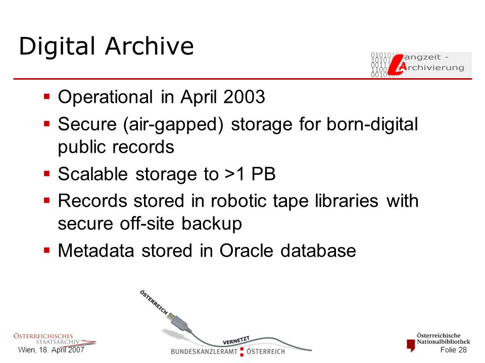 Wien, 18. April 2007 Folie 28 Digital Archive  Operational in April 2003  Secure (air-gapped) storage for born-digital public records  Scalable sto
