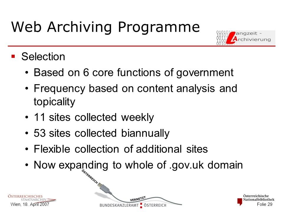 Wien, 18. April 2007 Folie 29 Web Archiving Programme  Selection Based on 6 core functions of government Frequency based on content analysis and topi