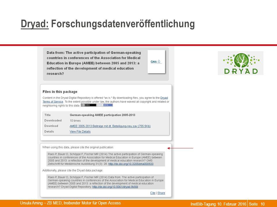 Seite Dryad:Dryad: Forschungsdatenveröffentlichung InetBib-Tagung 10. Februar 2016 Ursula Arning – ZB MED, treibender Motor für Open Access 10