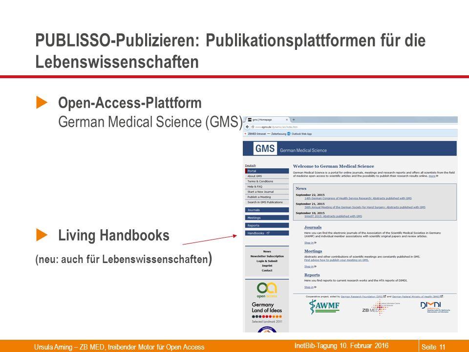 Seite PUBLISSO-Publizieren: Publikationsplattformen für die Lebenswissenschaften  Open-Access-Plattform German Medical Science (GMS)  Living Handboo