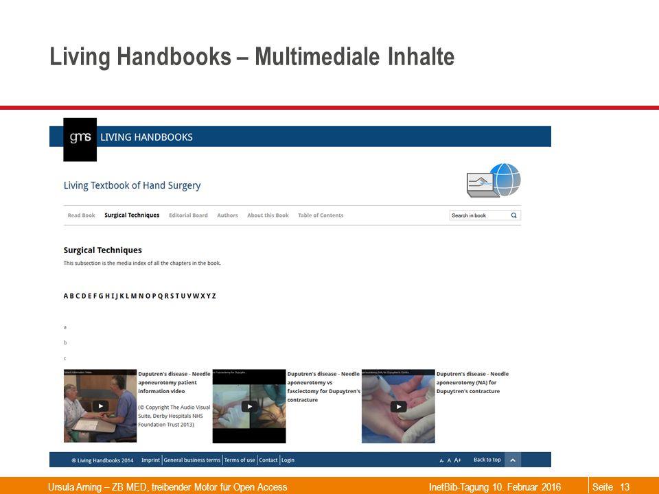 Seite Living Handbooks – Multimediale Inhalte Ursula Arning – ZB MED, treibender Motor für Open Access13 InetBib-Tagung 10. Februar 2016