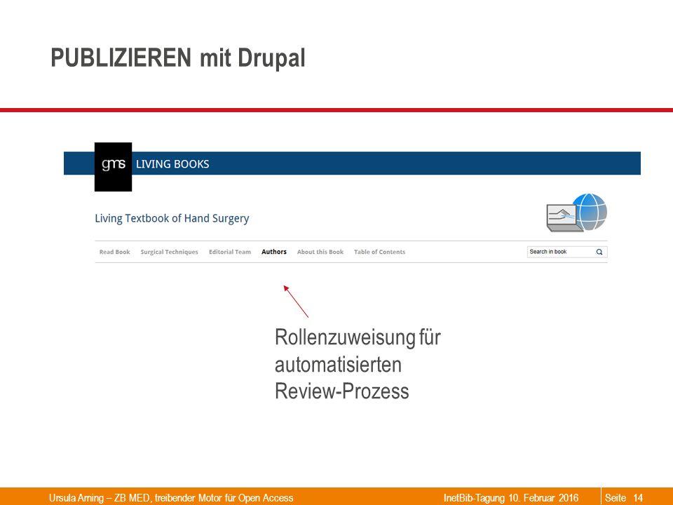 Seite PUBLIZIEREN mit Drupal Rollenzuweisung für automatisierten Review-Prozess Ursula Arning – ZB MED, treibender Motor für Open Access14InetBib-Tagu
