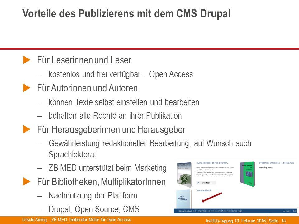 Seite Vorteile des Publizierens mit dem CMS Drupal  Für Leserinnen und Leser – kostenlos und frei verfügbar – Open Access  Für Autorinnen und Autore