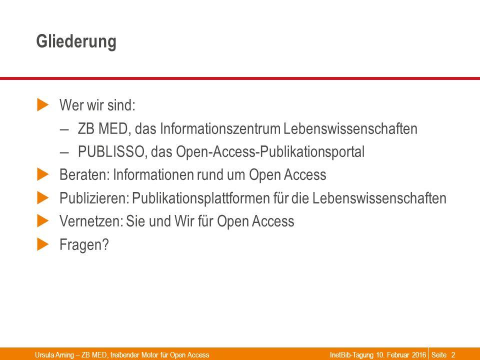 Seite Gliederung  Wer wir sind: – ZB MED, das Informationszentrum Lebenswissenschaften – PUBLISSO, das Open-Access-Publikationsportal  Beraten: Info