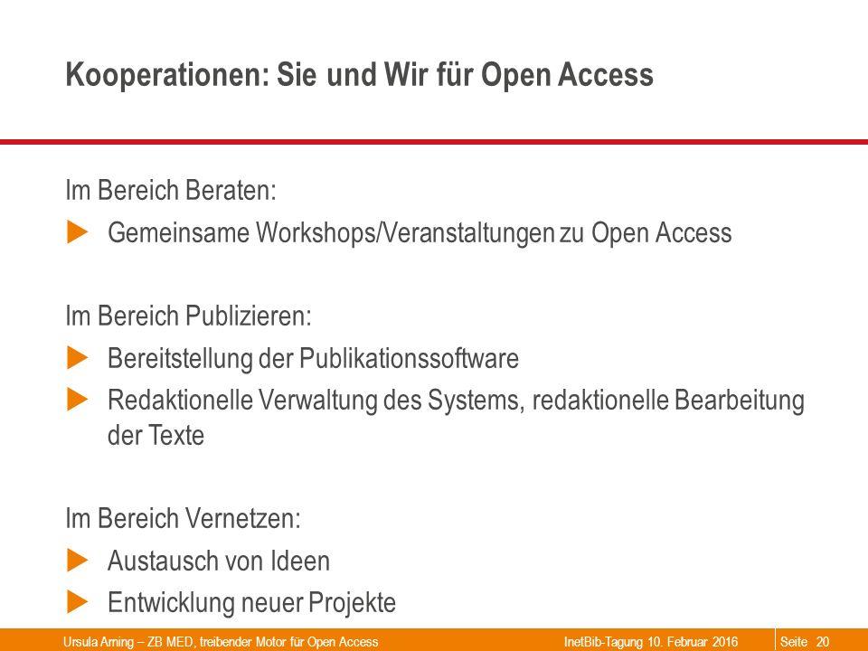 Seite Kooperationen: Sie und Wir für Open Access Im Bereich Beraten:  Gemeinsame Workshops/Veranstaltungen zu Open Access Im Bereich Publizieren:  B
