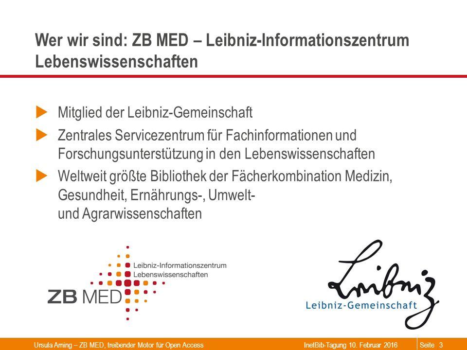 Seite Wer wir sind: ZB MED – Leibniz-Informationszentrum Lebenswissenschaften  Mitglied der Leibniz-Gemeinschaft  Zentrales Servicezentrum für Fachi
