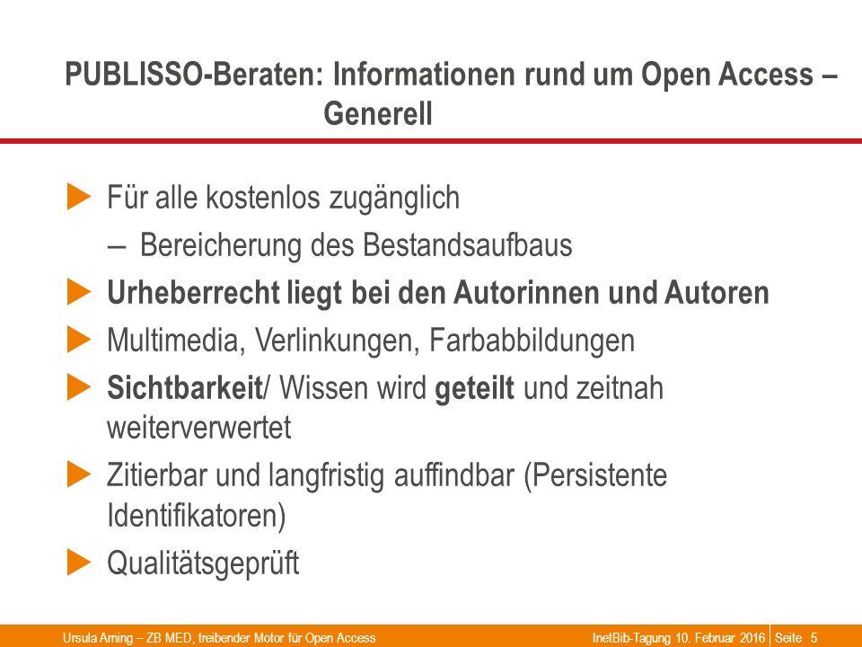 Seite PUBLISSO-Beraten: Informationen rund um Open Access – Generell  Für alle kostenlos zugänglich – Bereicherung des Bestandsaufbaus  Urheberrecht