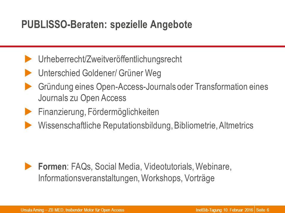 Seite PUBLISSO-Beraten: spezielle Angebote  Urheberrecht/Zweitveröffentlichungsrecht  Unterschied Goldener/ Grüner Weg  Gründung eines Open-Access-