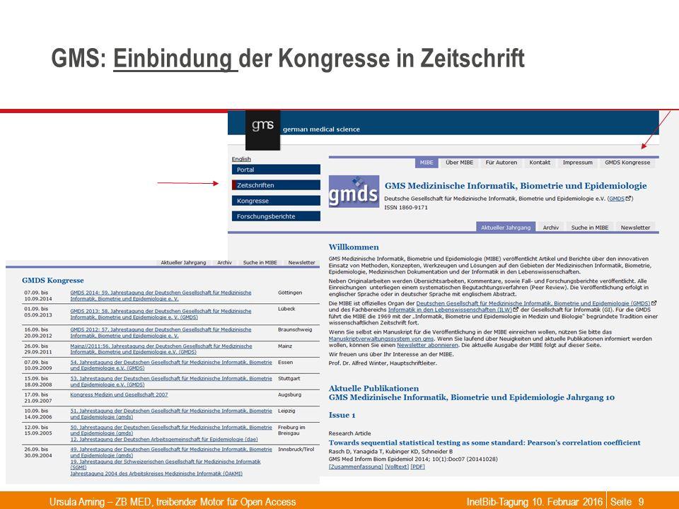 Seite GMS: Einbindung der Kongresse in ZeitschriftEinbindung InetBib-Tagung 10. Februar 2016Ursula Arning – ZB MED, treibender Motor für Open Access9