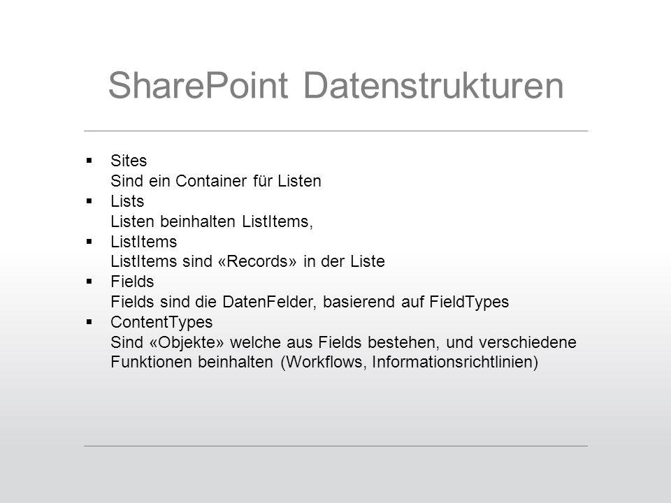 SharePoint Datenstrukturen  Sites Sind ein Container für Listen  Lists Listen beinhalten ListItems,  ListItems ListItems sind «Records» in der Liste  Fields Fields sind die DatenFelder, basierend auf FieldTypes  ContentTypes Sind «Objekte» welche aus Fields bestehen, und verschiedene Funktionen beinhalten (Workflows, Informationsrichtlinien)