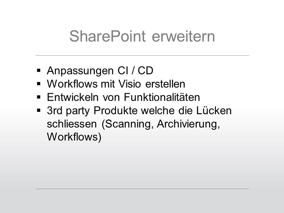 SharePoint erweitern  Anpassungen CI / CD  Workflows mit Visio erstellen  Entwickeln von Funktionalitäten  3rd party Produkte welche die Lücken schliessen (Scanning, Archivierung, Workflows)