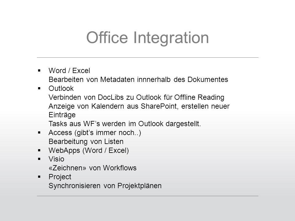 Office Integration  Word / Excel Bearbeiten von Metadaten innnerhalb des Dokumentes  Outlook Verbinden von DocLibs zu Outlook für Offline Reading Anzeige von Kalendern aus SharePoint, erstellen neuer Einträge Tasks aus WF's werden im Outlook dargestellt.