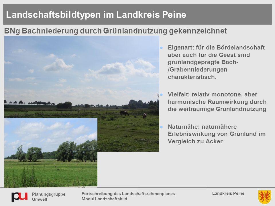 Planungsgruppe Umwelt Landkreis Peine Fortschreibung des Landschaftsrahmenplanes Modul Landschaftsbild ●Eigenart: für die Bördelandschaft aber auch für die Geest sind grünlandgeprägte Bach- /Grabenniederungen charakteristisch.