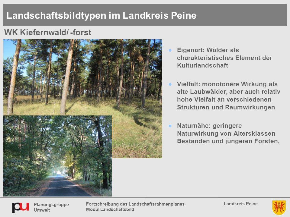 Planungsgruppe Umwelt Landkreis Peine Fortschreibung des Landschaftsrahmenplanes Modul Landschaftsbild ●Eigenart: Wälder als charakteristisches Elemen