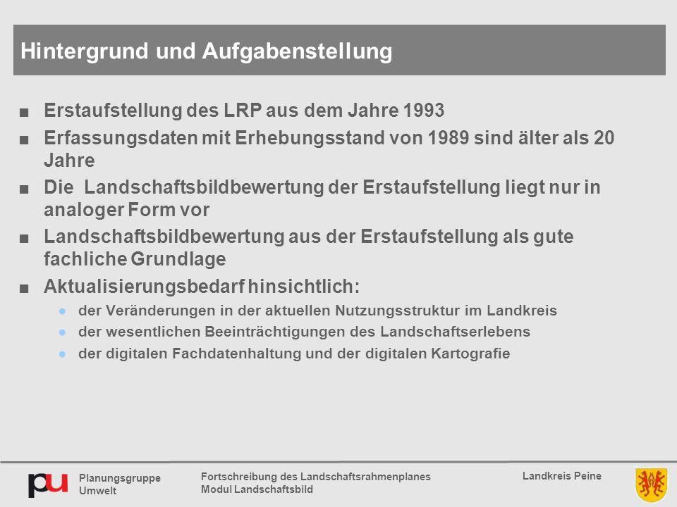 Planungsgruppe Umwelt Landkreis Peine Fortschreibung des Landschaftsrahmenplanes Modul Landschaftsbild ■Erstaufstellung des LRP aus dem Jahre 1993 ■Er