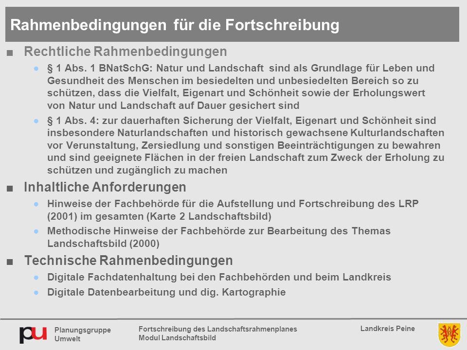 Planungsgruppe Umwelt Landkreis Peine Fortschreibung des Landschaftsrahmenplanes Modul Landschaftsbild ■Rechtliche Rahmenbedingungen ●§ 1 Abs.