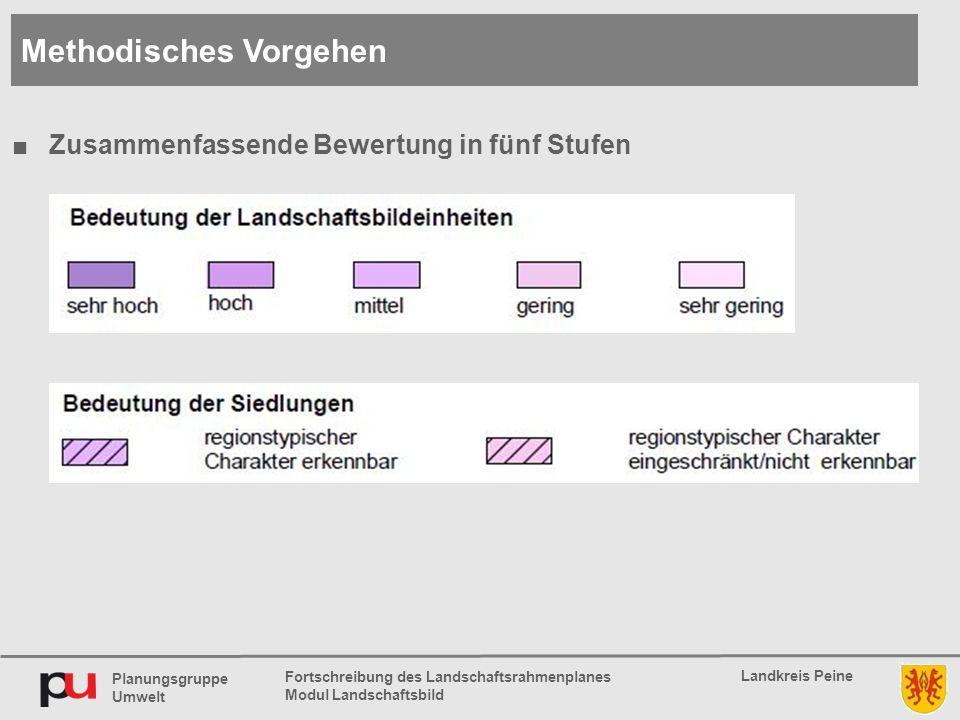Planungsgruppe Umwelt Landkreis Peine Fortschreibung des Landschaftsrahmenplanes Modul Landschaftsbild ■Zusammenfassende Bewertung in fünf Stufen Methodisches Vorgehen