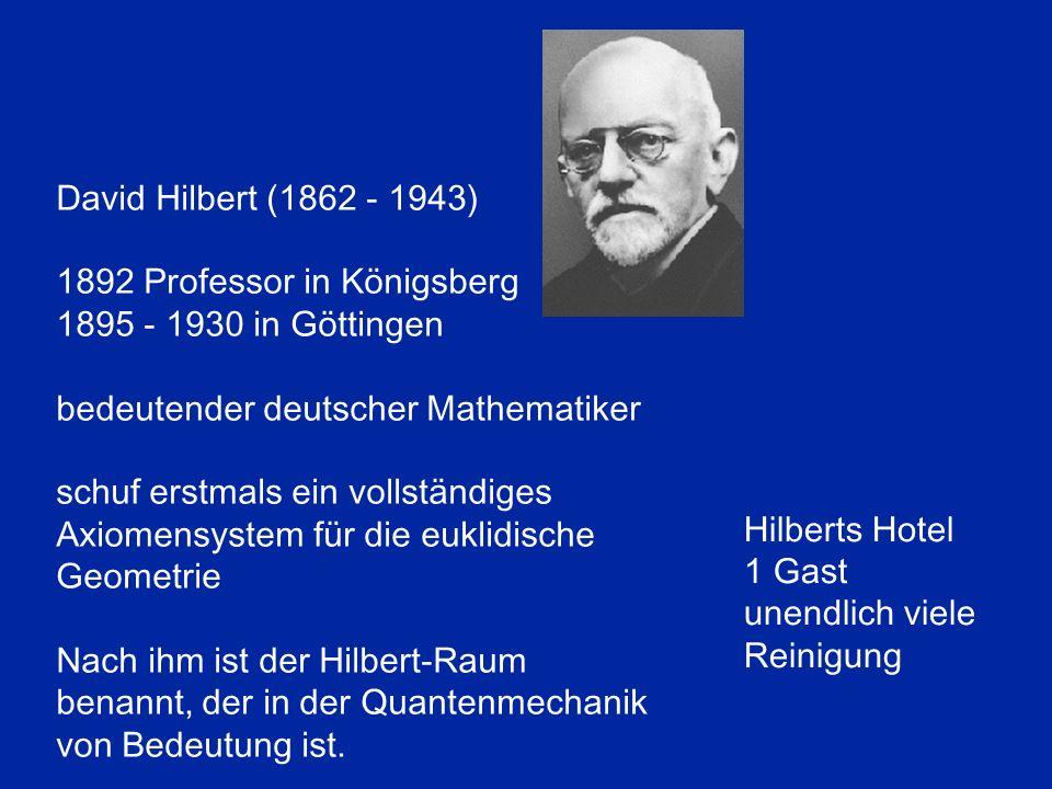 David Hilbert (1862 - 1943) 1892 Professor in Königsberg 1895 - 1930 in Göttingen bedeutender deutscher Mathematiker schuf erstmals ein vollständiges Axiomensystem für die euklidische Geometrie Nach ihm ist der Hilbert-Raum benannt, der in der Quantenmechanik von Bedeutung ist.