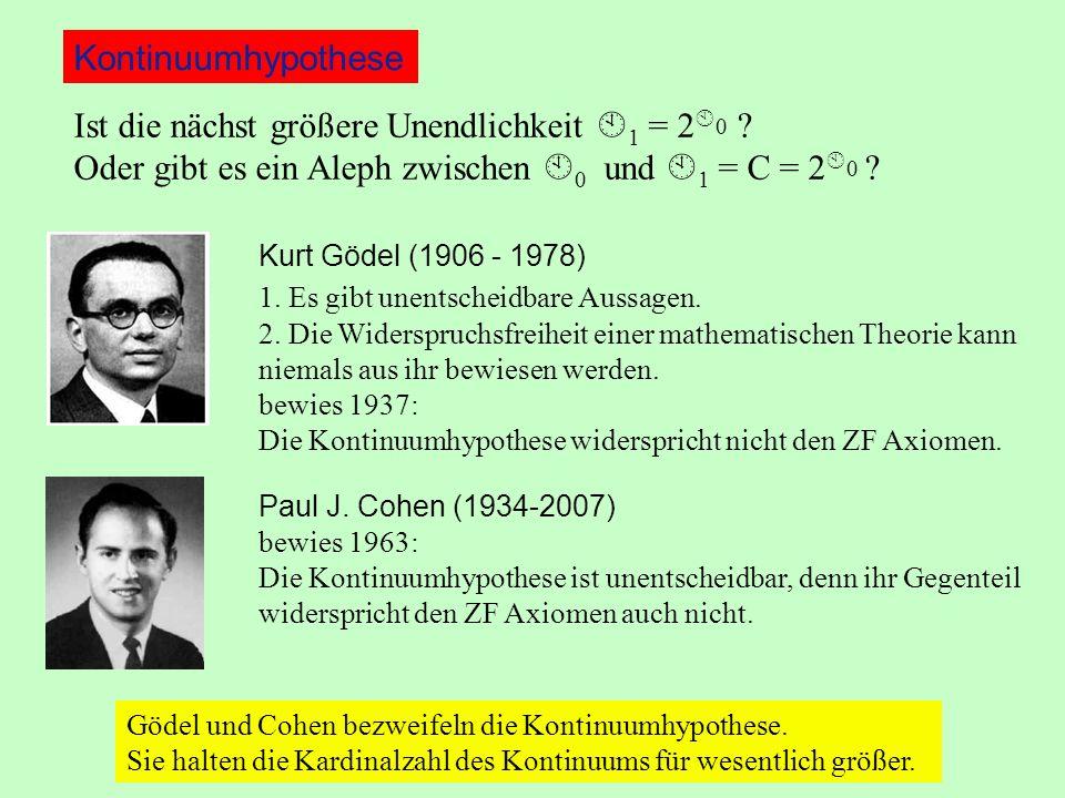 Kurt Gödel (1906 - 1978) 1. Es gibt unentscheidbare Aussagen.