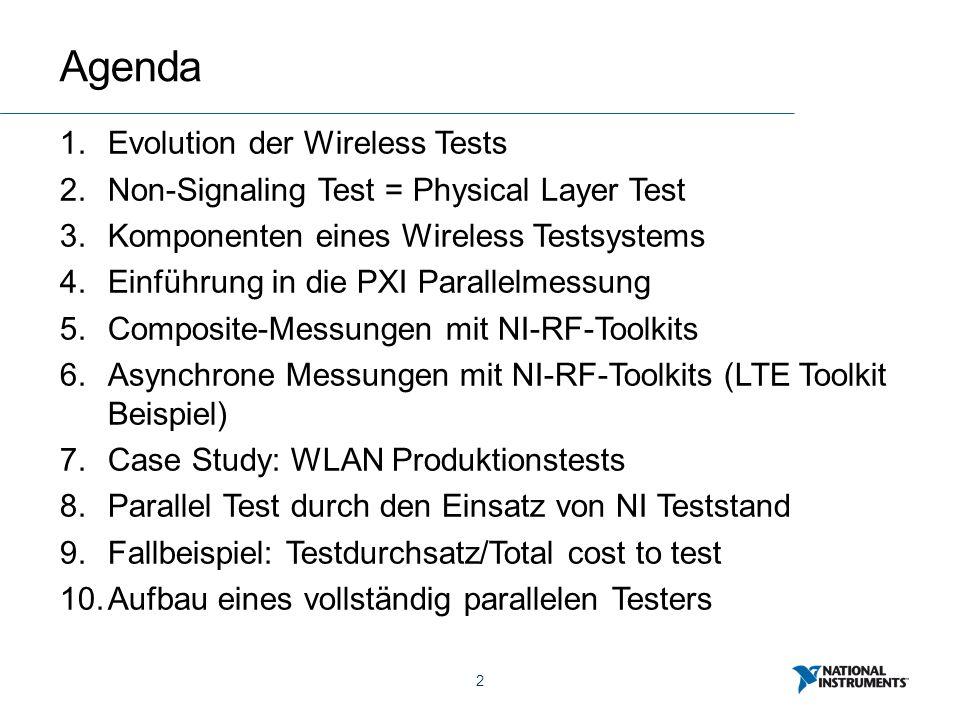 2 Agenda 1.Evolution der Wireless Tests 2.Non-Signaling Test = Physical Layer Test 3.Komponenten eines Wireless Testsystems 4.Einführung in die PXI Parallelmessung 5.Composite-Messungen mit NI-RF-Toolkits 6.Asynchrone Messungen mit NI-RF-Toolkits (LTE Toolkit Beispiel) 7.Case Study: WLAN Produktionstests 8.Parallel Test durch den Einsatz von NI Teststand 9.Fallbeispiel: Testdurchsatz/Total cost to test 10.Aufbau eines vollständig parallelen Testers
