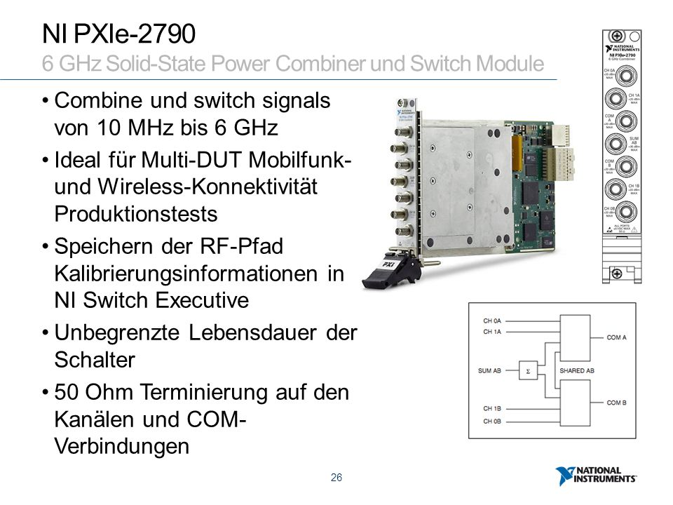 26 NI PXIe-2790 6 GHz Solid-State Power Combiner und Switch Module Combine und switch signals von 10 MHz bis 6 GHz Ideal für Multi-DUT Mobilfunk- und Wireless-Konnektivität Produktionstests Speichern der RF-Pfad Kalibrierungsinformationen in NI Switch Executive Unbegrenzte Lebensdauer der Schalter 50 Ohm Terminierung auf den Kanälen und COM- Verbindungen