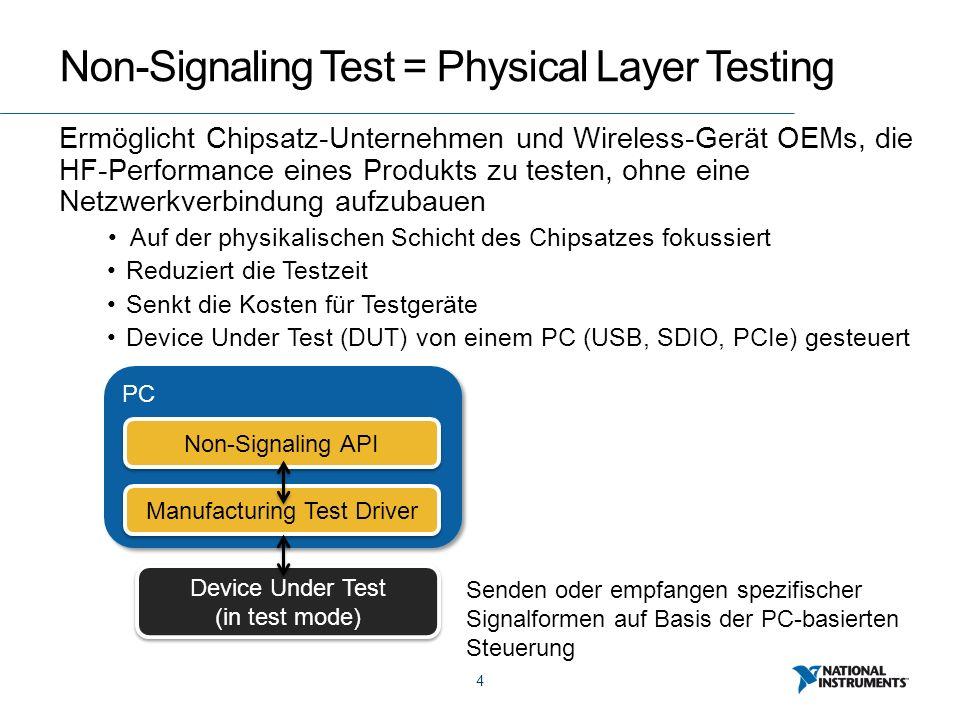 4 Non-Signaling Test = Physical Layer Testing Ermöglicht Chipsatz-Unternehmen und Wireless-Gerät OEMs, die HF-Performance eines Produkts zu testen, ohne eine Netzwerkverbindung aufzubauen Auf der physikalischen Schicht des Chipsatzes fokussiert Reduziert die Testzeit Senkt die Kosten für Testgeräte Device Under Test (DUT) von einem PC (USB, SDIO, PCIe) gesteuert Device Under Test (in test mode) Device Under Test (in test mode) PC Manufacturing Test Driver Non-Signaling API Senden oder empfangen spezifischer Signalformen auf Basis der PC-basierten Steuerung