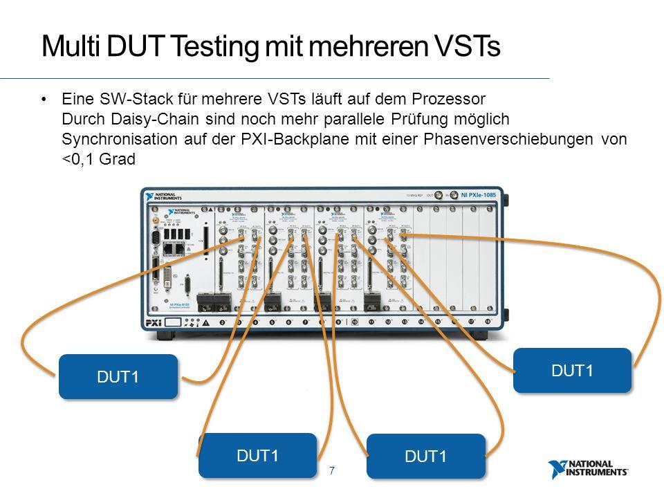 7 Multi DUT Testing mit mehreren VSTs DUT1 Eine SW-Stack für mehrere VSTs läuft auf dem Prozessor Durch Daisy-Chain sind noch mehr parallele Prüfung möglich Synchronisation auf der PXI-Backplane mit einer Phasenverschiebungen von <0,1 Grad