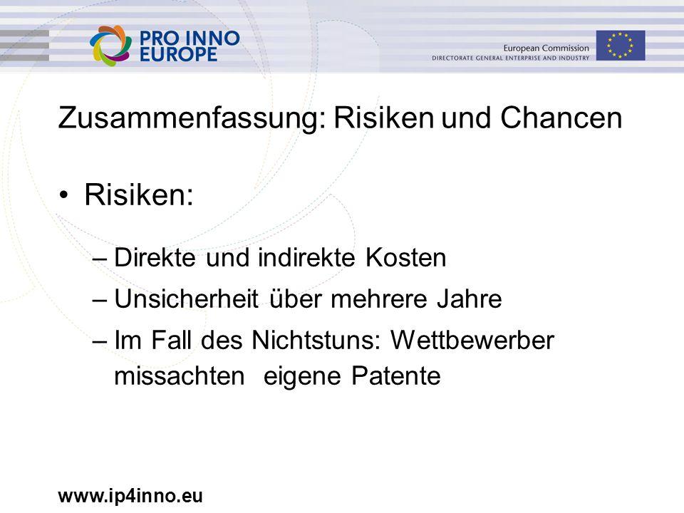 www.ip4inno.eu Zusammenfassung: Risiken und Chancen Risiken: –Direkte und indirekte Kosten –Unsicherheit über mehrere Jahre –Im Fall des Nichtstuns: Wettbewerber missachten eigene Patente
