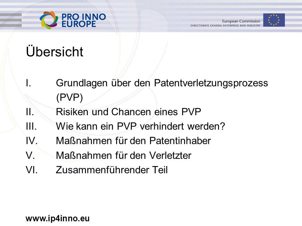www.ip4inno.eu Übersicht I. Grundlagen über den Patentverletzungsprozess (PVP) II.