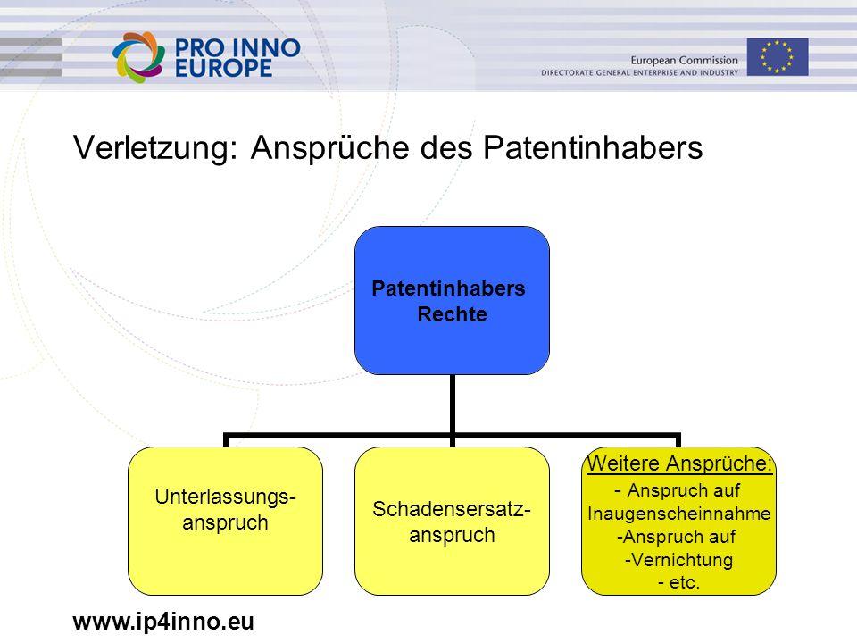 www.ip4inno.eu EPA Statistik 2009: Erteilte Patente und Einsprüche Anmeldungen 134.542 Erteilungen 51.969 Eingereichte Einsprüche 2.695 Quelle: EPO Annual Report 2009 Siehe http://www.epo.org/about-us/publications/general- information/annual-reports/2009.html Einspruchsentscheidungen (2314 gesamt):