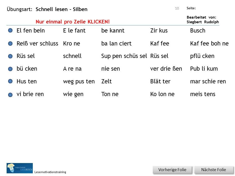Übungsart: Seite: Bearbeitet von: Siegbert Rudolph Lesemotivationstraining Schnell lesen – Silben Nur einmal pro Zeile KLICKEN! Nächste Folie Vorherig