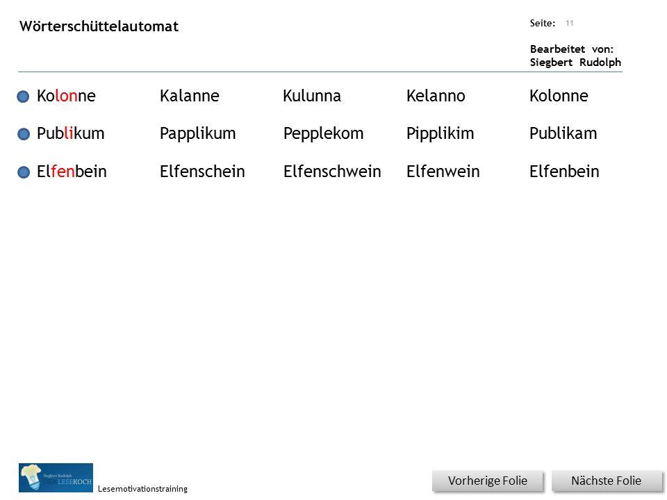 Übungsart: Seite: Bearbeitet von: Siegbert Rudolph Lesemotivationstraining Nächste Folie Vorherige Folie Wörterschüttelautomat 11 KolonneKalanneKulunn