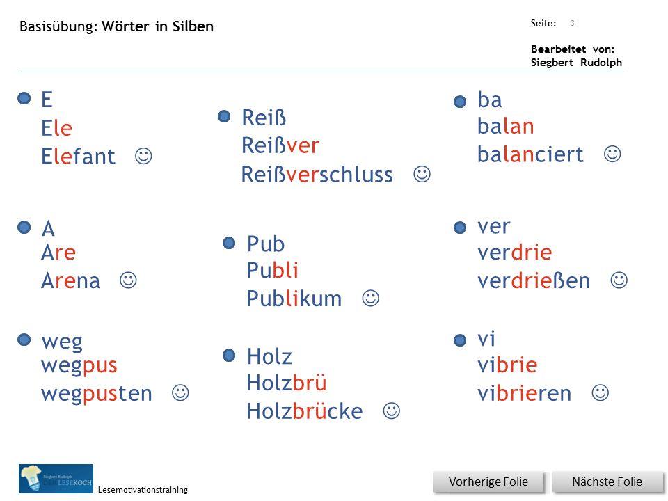 Übungsart: Seite: Bearbeitet von: Siegbert Rudolph Lesemotivationstraining Basisübung: Wörter in Silben Nächste Folie Vorherige Folie E Reiß ba A Pub