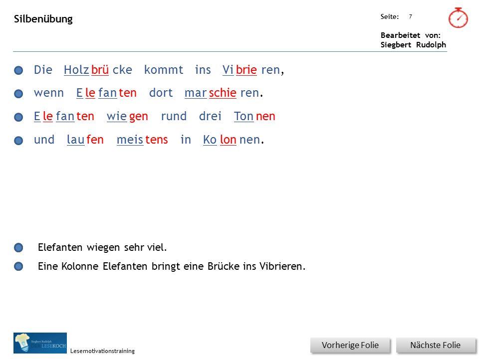 Übungsart: Seite: Bearbeitet von: Siegbert Rudolph Lesemotivationstraining 8 Silbenübung Nächste Folie Vorherige Folie DerElefantmitseinemRüssel leertschnelldieganzeSuppenschüssel.