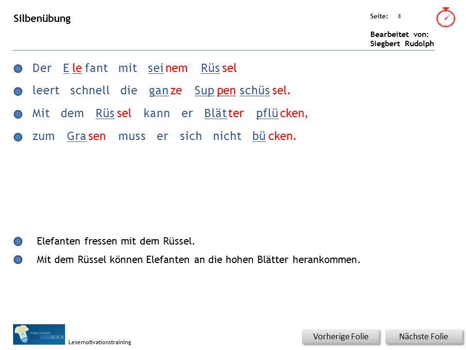 Übungsart: Seite: Bearbeitet von: Siegbert Rudolph Lesemotivationstraining 8 Silbenübung Nächste Folie Vorherige Folie DerElefantmitseinemRüssel leert