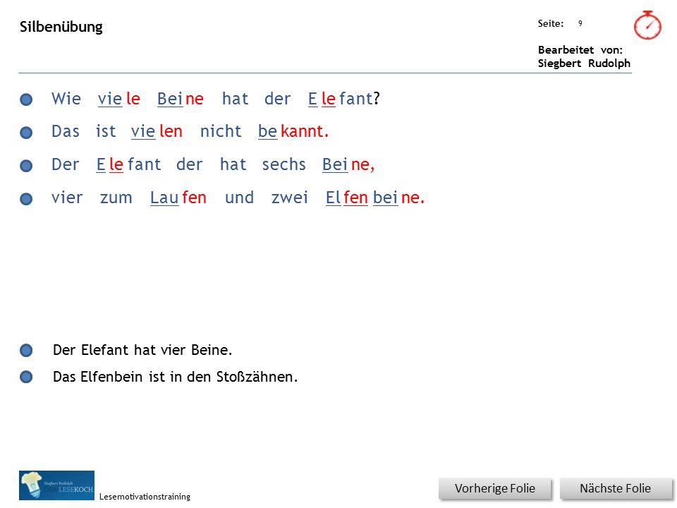 Übungsart: Seite: Bearbeitet von: Siegbert Rudolph Lesemotivationstraining 9 Silbenübung Nächste Folie Vorherige Folie WievieleBeinehatderElefant? Das