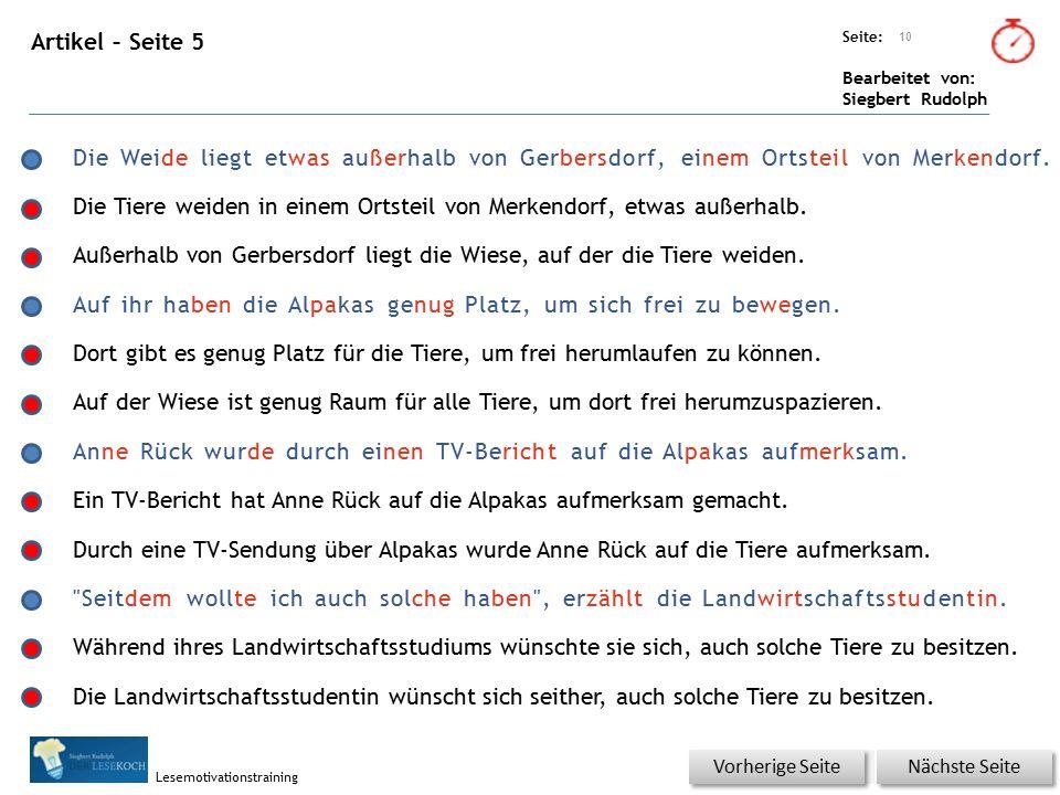 Übungsart: Seite: Bearbeitet von: Siegbert Rudolph Lesemotivationstraining Artikel – Seite 5 10 Nächste Seite Vorherige Seite Die Weide liegt etwas außerhalb von Gerbersdorf, einem Ortsteil von Merkendorf.