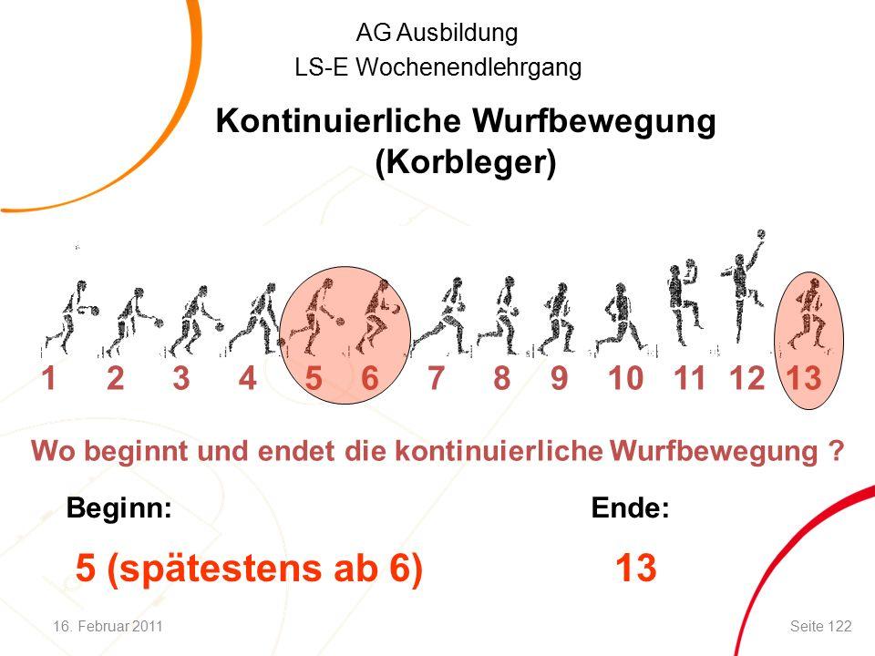 AG Ausbildung LS-E Wochenendlehrgang Kontinuierliche Wurfbewegung (Korbleger) 1 2 3 4 5 6 7 8 9 10 11 12 13 Wo beginnt und endet die kontinuierliche Wurfbewegung .