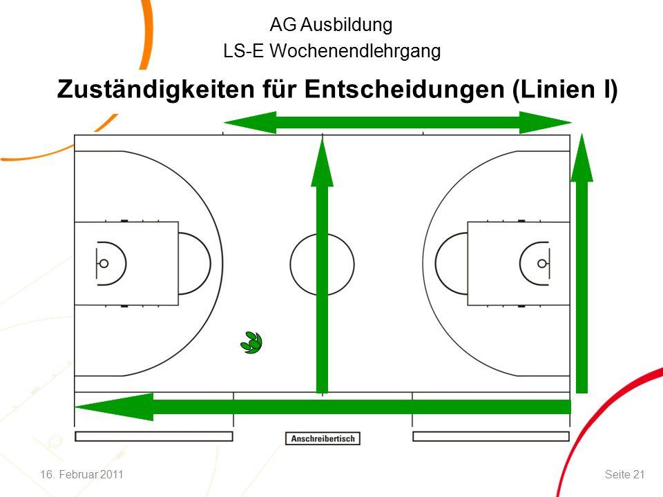 AG Ausbildung LS-E Wochenendlehrgang Zuständigkeiten für Entscheidungen (Linien I) 16.