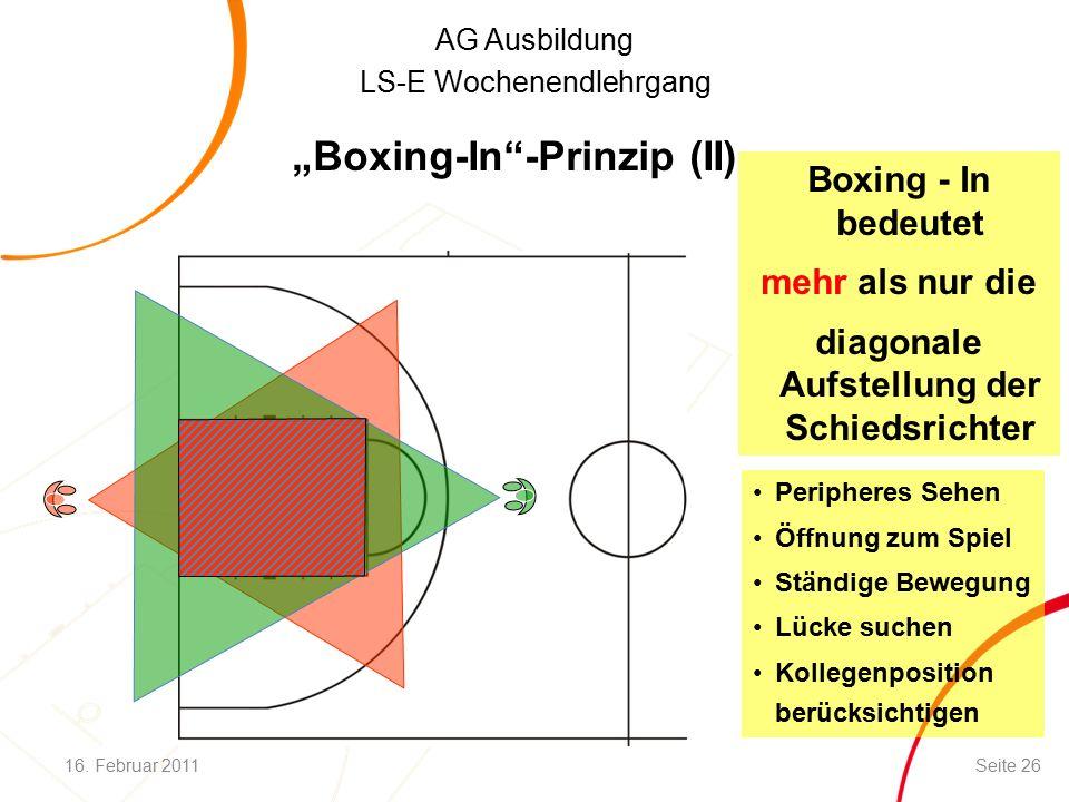 """AG Ausbildung LS-E Wochenendlehrgang """"Boxing-In -Prinzip (II) Boxing - In bedeutet mehr als nur die diagonale Aufstellung der Schiedsrichter Peripheres Sehen Öffnung zum Spiel Ständige Bewegung Lücke suchen Kollegenposition berücksichtigen 16."""