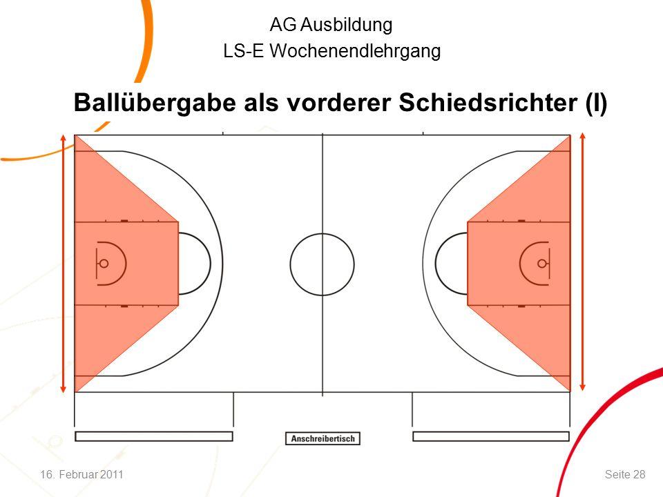 AG Ausbildung LS-E Wochenendlehrgang Ballübergabe als vorderer Schiedsrichter (I) 16.