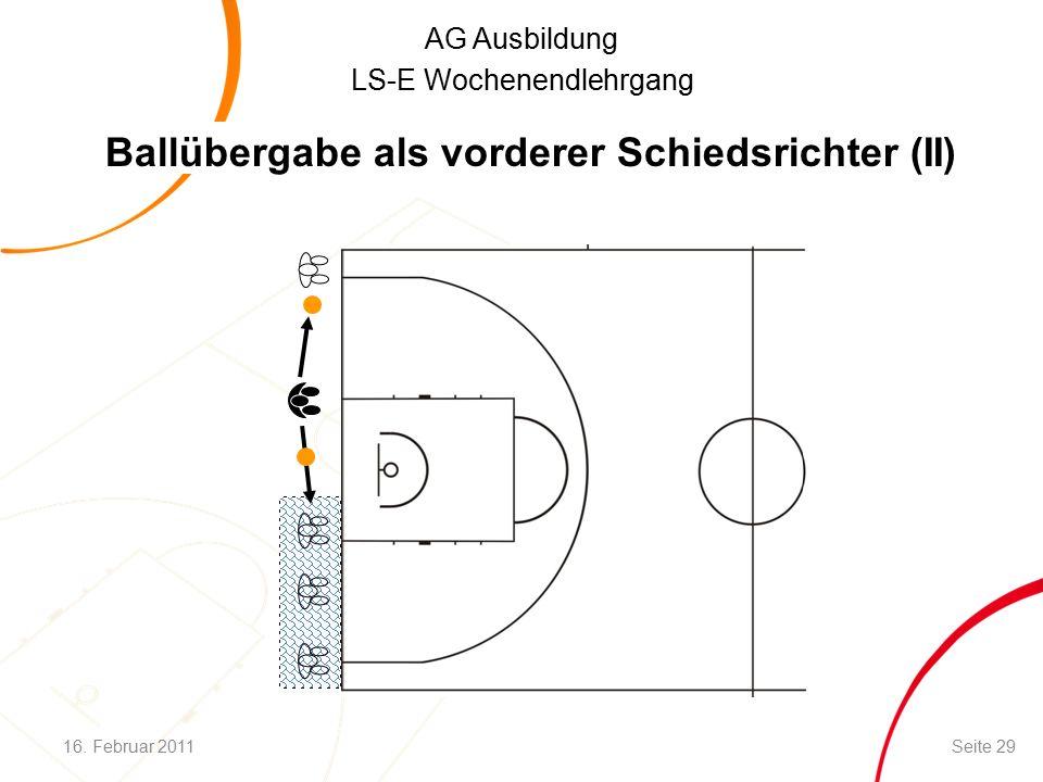 AG Ausbildung LS-E Wochenendlehrgang Ballübergabe als vorderer Schiedsrichter (II) 16.