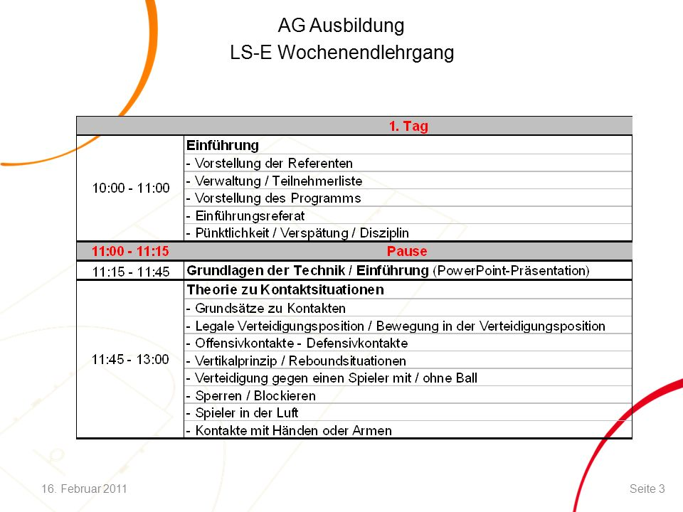 AG Ausbildung LS-E Wochenendlehrgang Aufteilung / Zuständigkeit in der Zone 16.