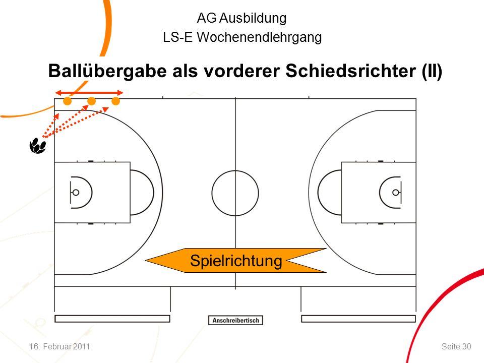 AG Ausbildung LS-E Wochenendlehrgang Spielrichtung Ballübergabe als vorderer Schiedsrichter (II) 16.