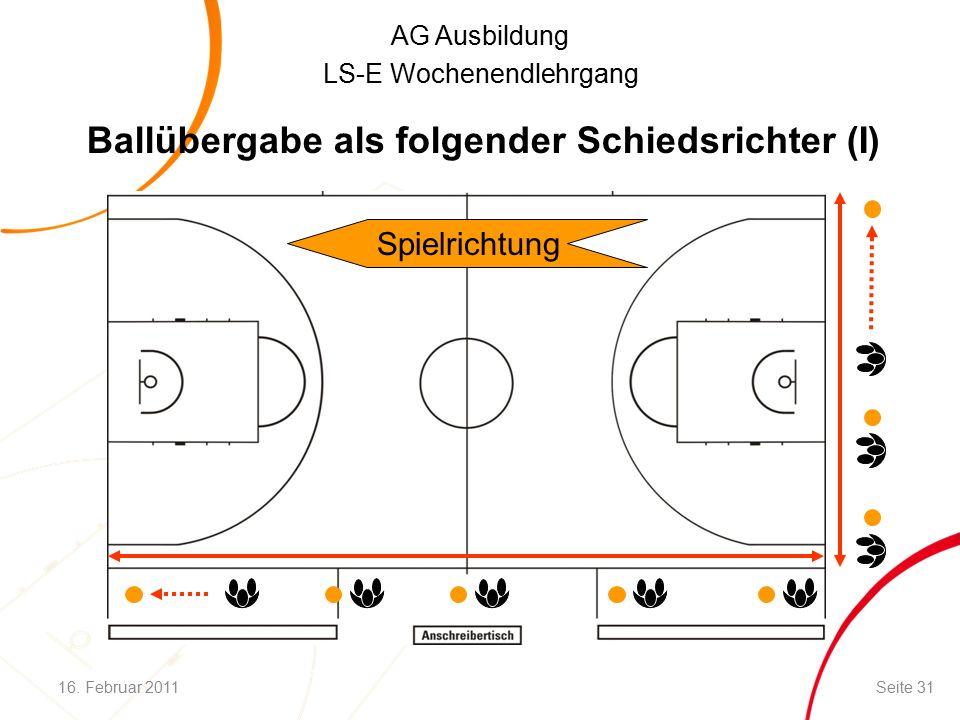 AG Ausbildung LS-E Wochenendlehrgang Ballübergabe als folgender Schiedsrichter (I) Spielrichtung 16.