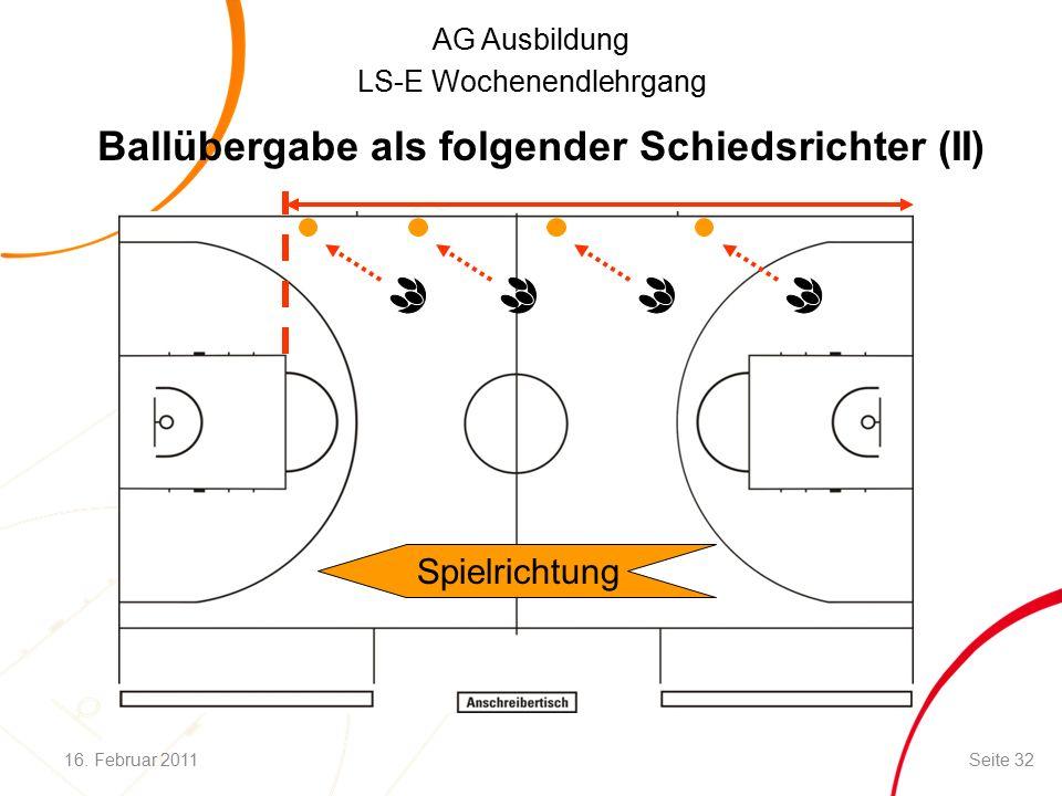 AG Ausbildung LS-E Wochenendlehrgang Ballübergabe als folgender Schiedsrichter (II) Spielrichtung 16.