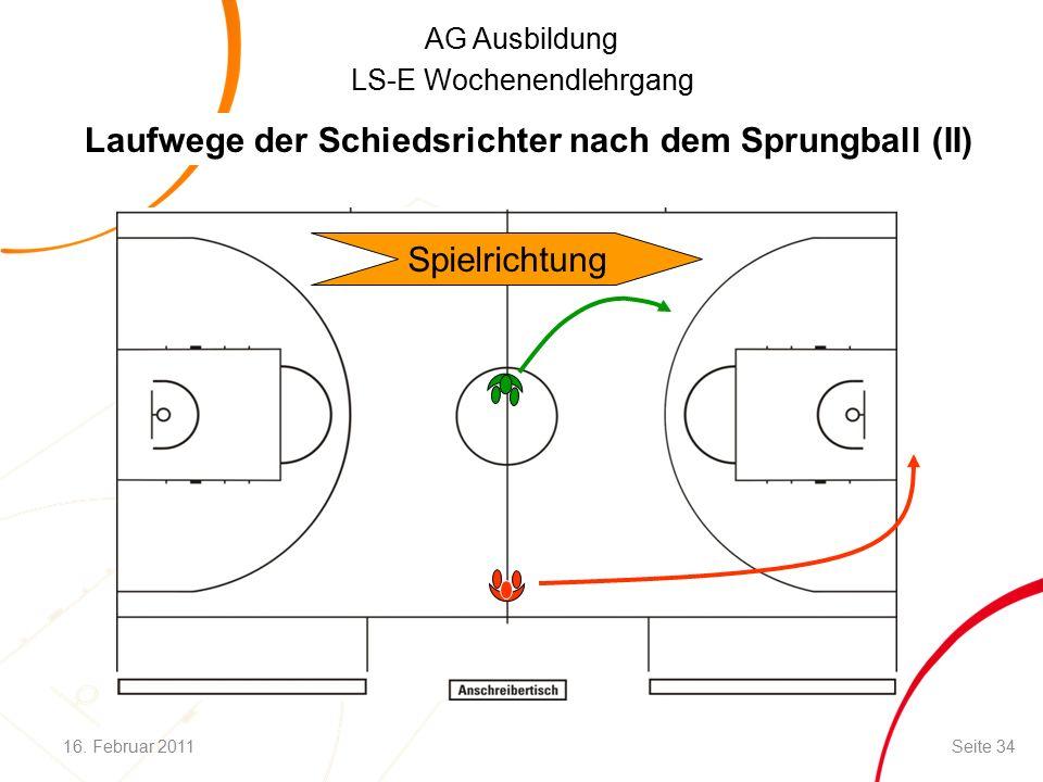 AG Ausbildung LS-E Wochenendlehrgang Spielrichtung Laufwege der Schiedsrichter nach dem Sprungball (II) 16.