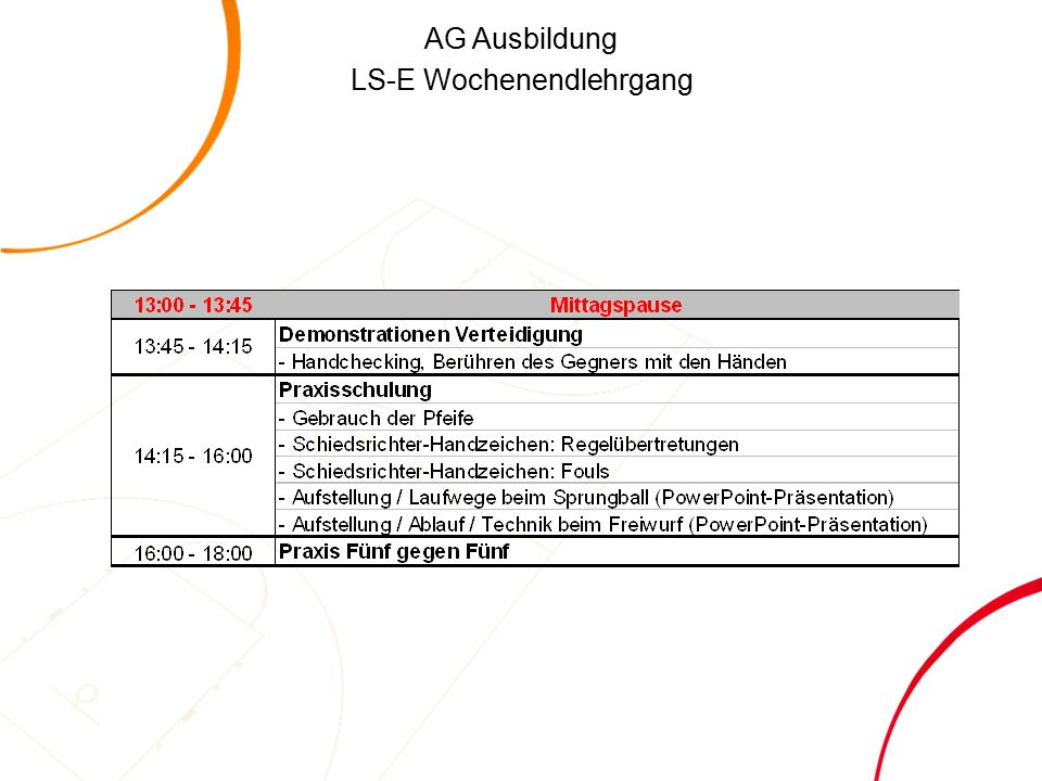 AG Ausbildung LS-E Wochenendlehrgang Offensivfoul oder Defensivfoul.